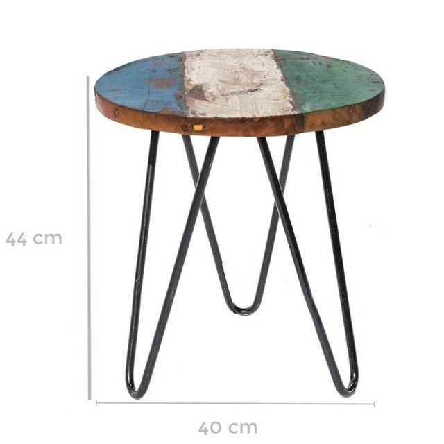 Table de salon de jardin ronde 40cm en teck et fer Ciudad - L 40 x l 40 x H  45