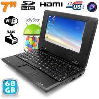 Yonis - Mini Pc Android Kitkat dual core netbook 7 pouces WiFi 68 Go Noir