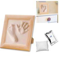 Touslescadeaux - Kit de Moulage d'empreintes Main Bébé Enfant en 3D - Plâtre - Garçon Fille - Cadre en Bois
