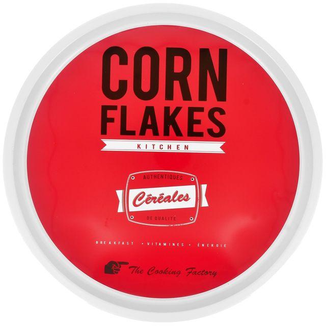 Promobo Plateau Rond En Métal Déco Vintage Licence Kelloggs Corn Flakes Rouge