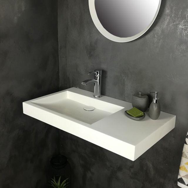 vasque a poser pas cher 2 Ambra - Vasque 80 cm suspendue ou à poser, en Solid surface - Passoa