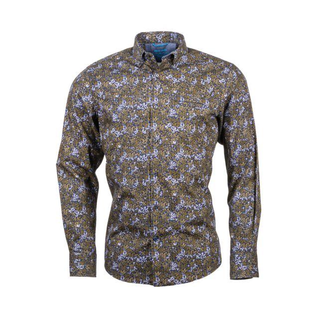 PIERRE CARDIN Chemise ajustée en coton bleu marine à motifs feuilles