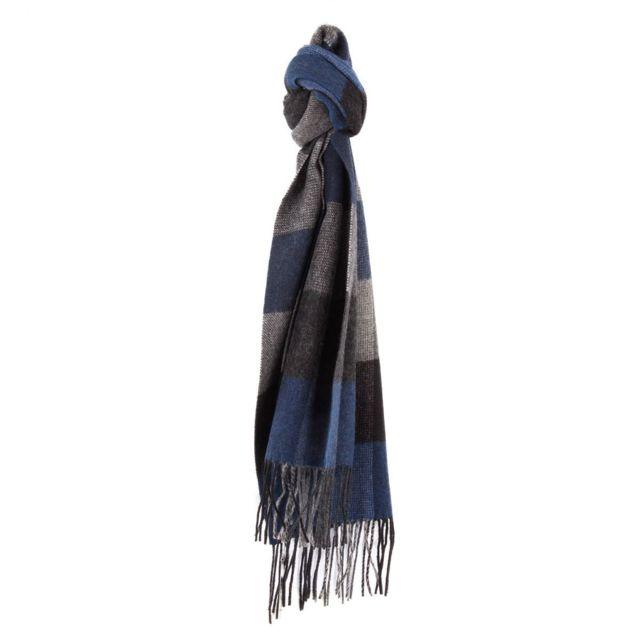 Azzaro - Echarpe grise noire et bleue à carreaux en laine homme - pas cher  Achat   Vente Echarpes - RueDuCommerce 75a8cfbf8d1