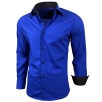 e82d8478c078e Chemise homme bicolore uni manches longues coupe slim business Rn44 Taille  - M, Couleur - Bleu roi
