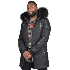project x parka en jean capuche fourrure homme paris taille s couleur noir pas cher. Black Bedroom Furniture Sets. Home Design Ideas