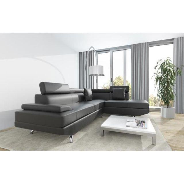 Icaverne CANAPE - SOFA - DIVAN SCOOP Canapé d'angle droit 4 places - Simili noir - Contemporain - L 259 x P 182 cm