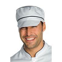 Isacco - Casquette blanche de cuisine charly avec filet et finition noire