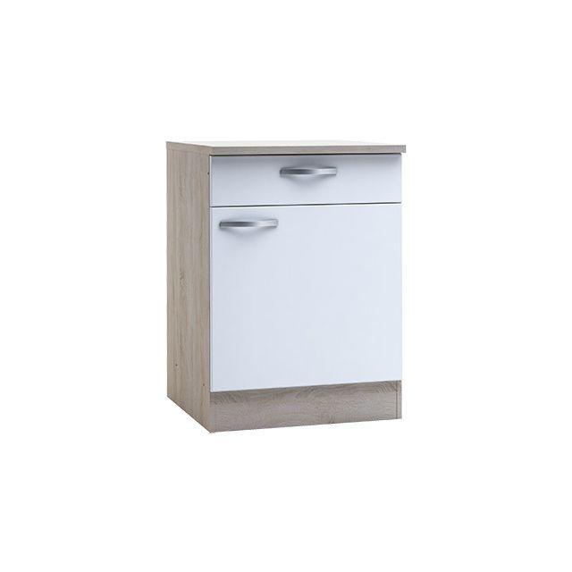 Meuble bas 1 porte 1 tiroir - coloris chêne brossé et blanc mat