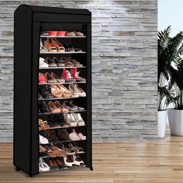 Idmarket etagère range <strong>chaussures</strong> 30 paires eco avec sa housse noire