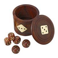 Royaltyroute - Jeux de dés en bois fait main Set Shaker avec cinq dés