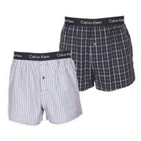 Calvin Klein - Lot de 2 caleçons en coton noir à carreaux et à rayures
