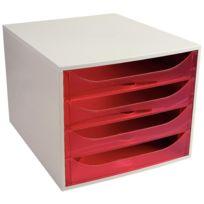 Exacompta - 228654d - module 4 tiroirs ecobox de couleur gris et framboise