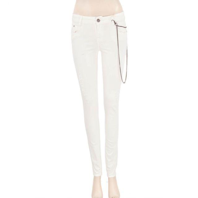 62bcab92763e6 Ddp - Pantalon écru femme Jams Blanc - 42 - pas cher Achat   Vente Pantalon  femme - RueDuCommerce