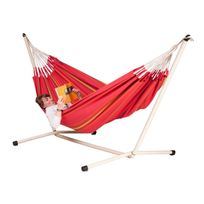 La Siesta - Hamac double Currambera cherry + Support pour hamac double Neptuno
