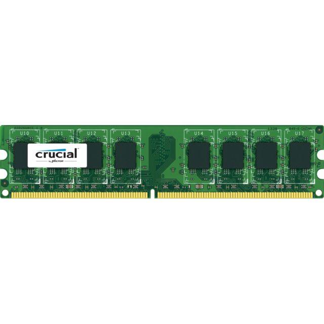 CRUCIAL 2 Go DDR2 1066MHz CL7  Mémoire pour ordinateurs de bureau Crucial Il existe un bon remède contre la lenteur d'un ordinateur : lui ajouter de la mémoire. Conçue pour améliorer la fluidité et la vitess