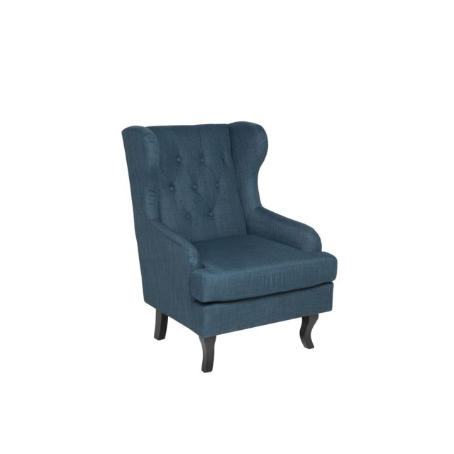 BELIANI Fauteuil en tissu tapissé bleu foncé ALTA - bleu foncé