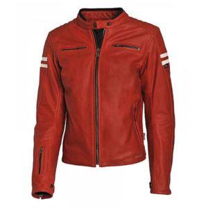 Veste moto femme rouge