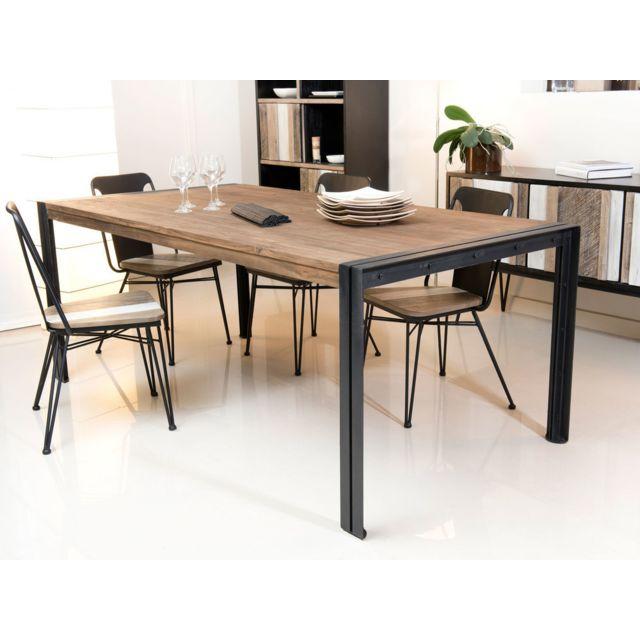 MACABANE Table à manger en teck recyclé et pieds en métal L200 cm KRISTINE