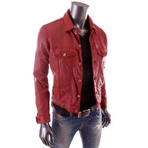 redskins veste en cuir slim fit coupe jeans rouge milton. Black Bedroom Furniture Sets. Home Design Ideas