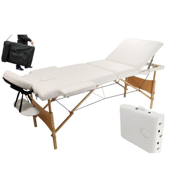 Bcelec table de massage pliante en bois 210x80x100cm blanc 250kg max mousse 10cm pas cher - Table de massage pliante ebay ...