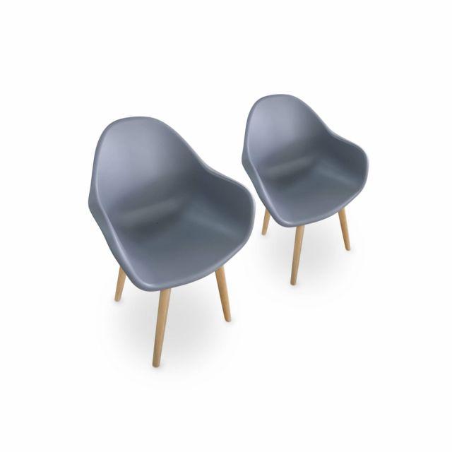 ALICE'S GARDEN Lot de 2 fauteuils scandinaves PENIDA, en acacia et résine injectée grise, intérieur/extérieur