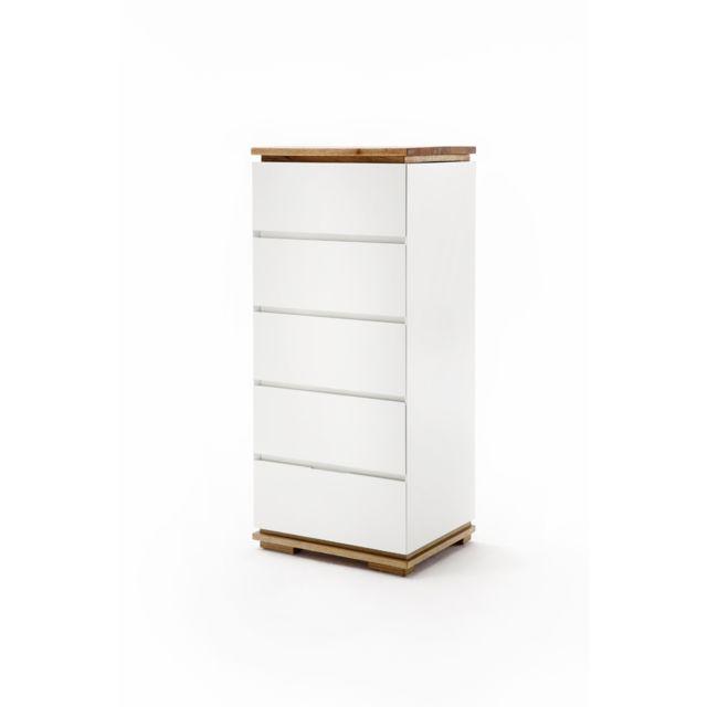 Pegane Commode en laqué blanc mat - L51 x H115 x P40 cm