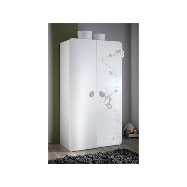 HABITAT ET JARDIN Armoire Jungle - 106 x 57 x 185 cm - Blanc