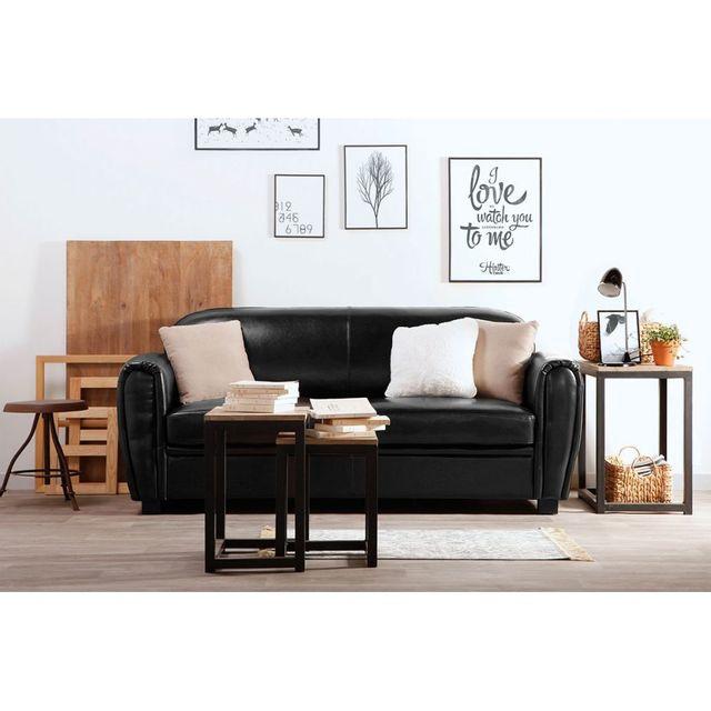 miliboo canap club convertible cuir noir 3 places cuir de vachette 86cm x 88cm x 200cm. Black Bedroom Furniture Sets. Home Design Ideas