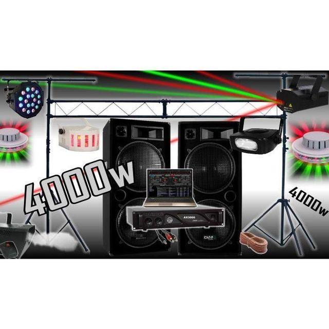 Ibiza Sound Pack sono 4000w - ampli - enceintes - 6 jeux de lumière - machine a fumée - portique de 3m - padj led