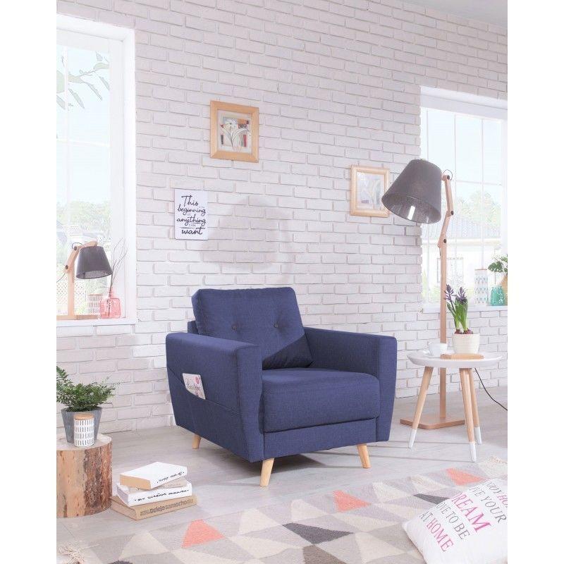 Fauteuil SCANDI - Style Scandinave - Bleu