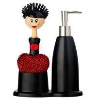 Vigar - Set complet brosse à vaisselle + éponge et distributeur de savon Katia Noir Dolls