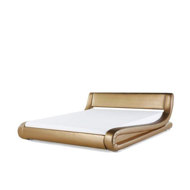 BELIANI Lit design en cuir double or 160x200 cm AVIGNON - or
