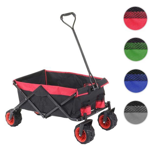 Mendler Chariot pliable Hwc-e62, charette à bras, pneus tout terrain ~ sans recouvrement noir/rouge