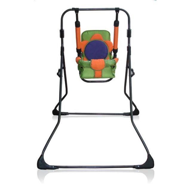 Skyline Balancelle berceau transat chaise haute 12m+ bébé enfant - Samba Plus 4en1   Orange et Verte / Cadre noir