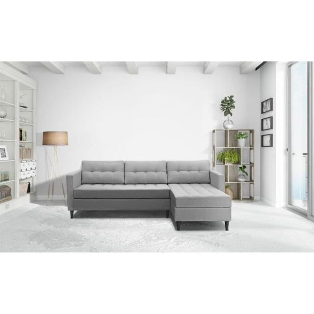 Icaverne Canape - Sofa - Divan Dyan Canapé d'angle réversible fixe 4 places - Tissu gris clair + pieds noir - L219xP150xH80 cm