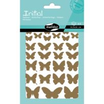 Maildor - Stickers Initial 4 planches : Papillons : Or et argent