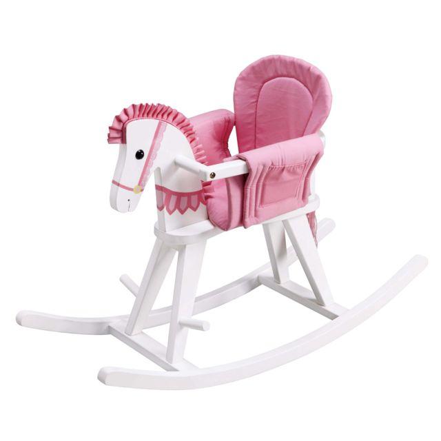 TEAMSON KIDS Cheval à bascule en bois Safari avec coussin de sécurité amovible pour tout-petits - Blanc / Rose Découvrez une multitude de possibilités. avec le cheval à bascule Baby to Kids de Teamson Kids. Un berceau rose et une balustrade se trouve au s