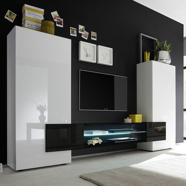 Sofamobili Ensemble meubles Tv blanc et noir laqué brillant Argos 3