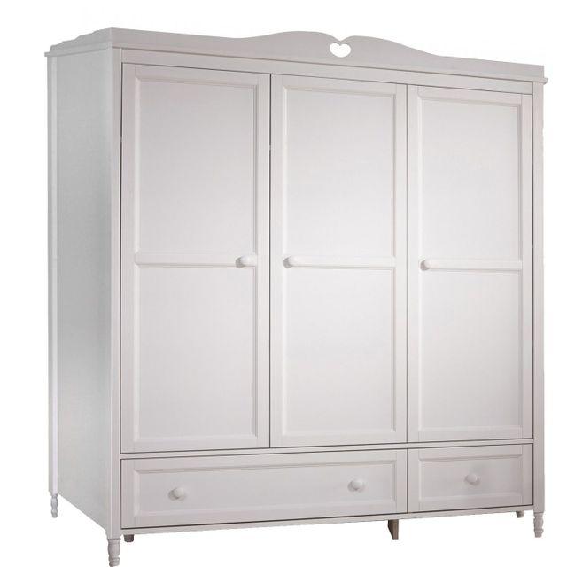 Comforium Armoire 3 portes design rustique coloris blanc