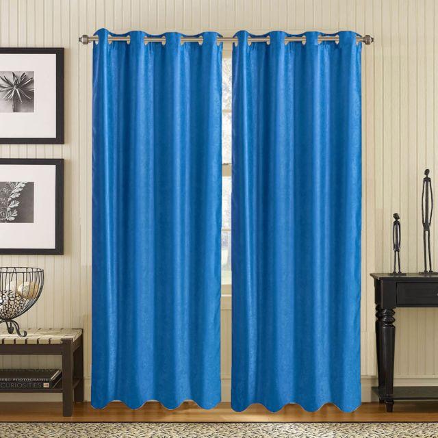 Best Interior - Paire de rideaux occultant effet marbré - bleu ...