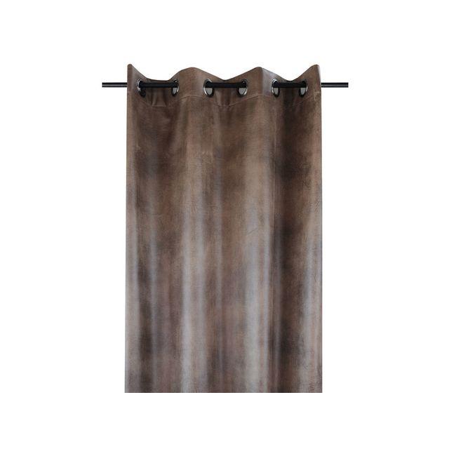 Stof - Rideau tamisant à œillets polyester imitation cuir effet ...