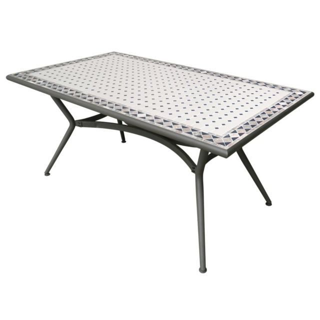 Carrefour Table De Jardin Rectangulaire Mosaique 160x90x74 Cm