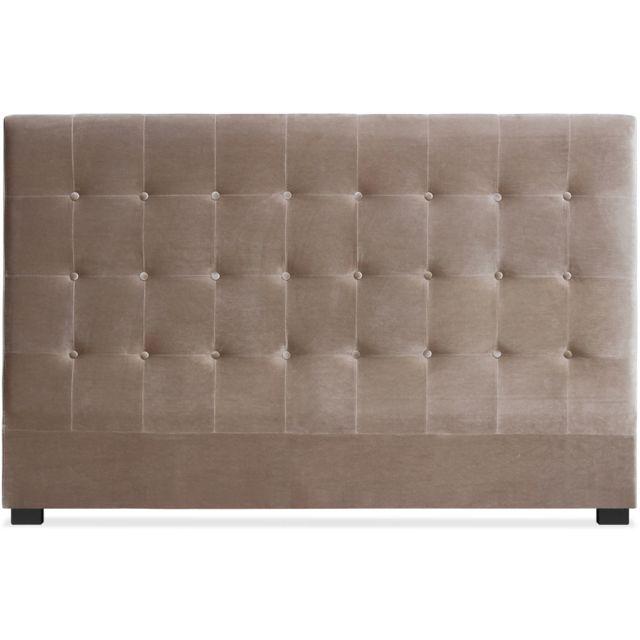 menzzo t te de lit luxor 180cm velours taupe pas cher achat vente t tes de lit rueducommerce. Black Bedroom Furniture Sets. Home Design Ideas