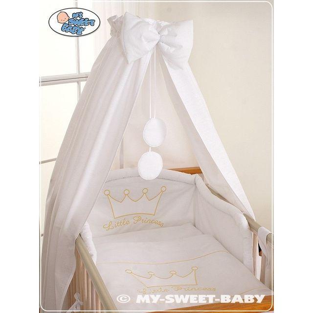 Lit et Parure de lit bébé prince ou princesse blanc ciel de lit coton 120 60