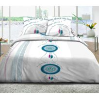 Douceur & Tradition - Parure de lit 4 pièces Dream Bleu 100% coton 57 fils