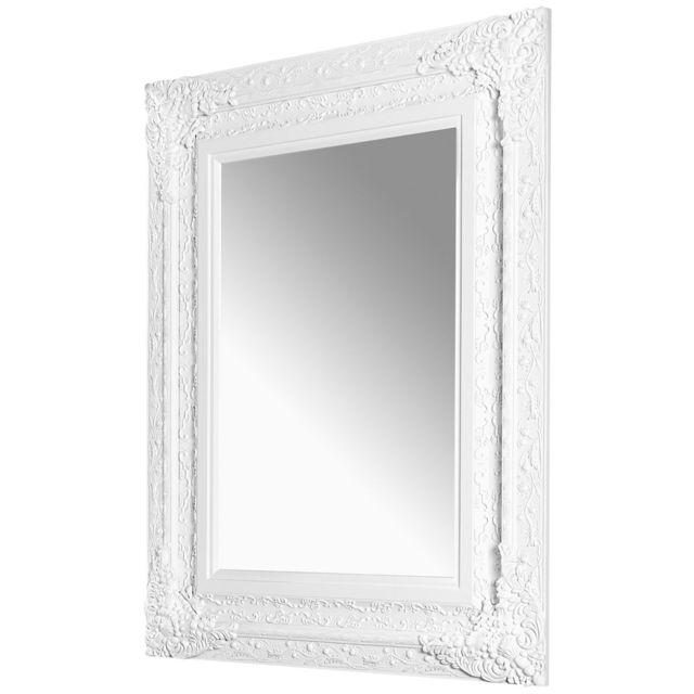 Comforium Miroir mural moderne en bois peint coloris blanc