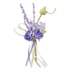 1001decotable mini bouquet de fleurs tissu lavande 15cm pas cher achat vente articles de. Black Bedroom Furniture Sets. Home Design Ideas