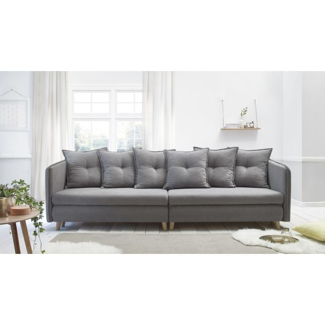 Bobochic Canape Opti Sofa 4 Places Convertible Gris Clair
