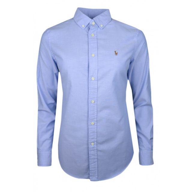 Ralph Lauren - Chemise Oxford Ralph Lauren bleu logo multicolore slim fit  pour femme 3a7c64783940