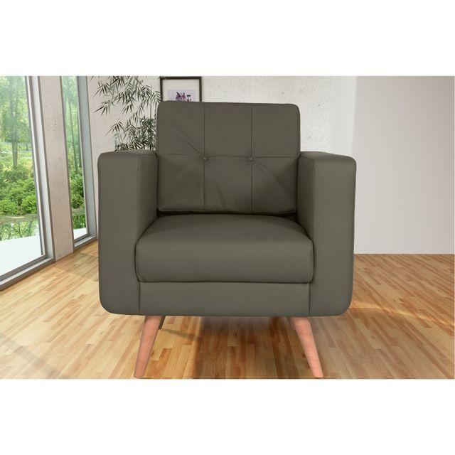 Rocambolesk Canapé fixe Hedvig 1 Pu Soft 24 Taupe sofa divan